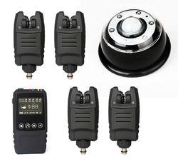 O envio gratuito de alarme sem fio à prova dwireless água conjunto 2/3/4 pçs alarmes mordida + 1 * toque receptor choque lâmpada receptor luz para a pesca da carpa