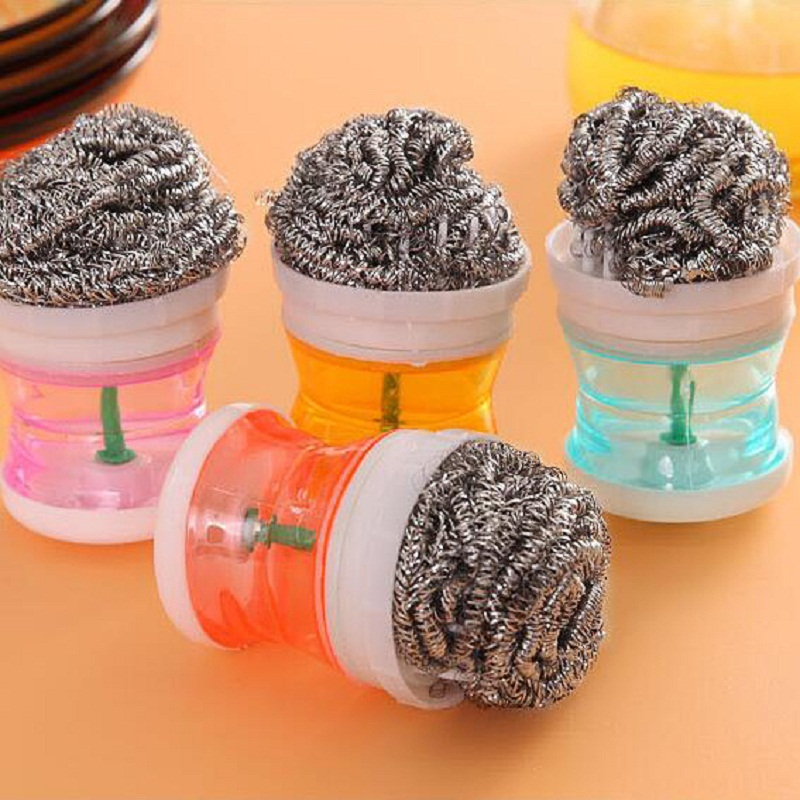 Handle stainless steel wire ball kitchen cleaning brush scourer pan dish bowl pot palm brush household cleaning tools