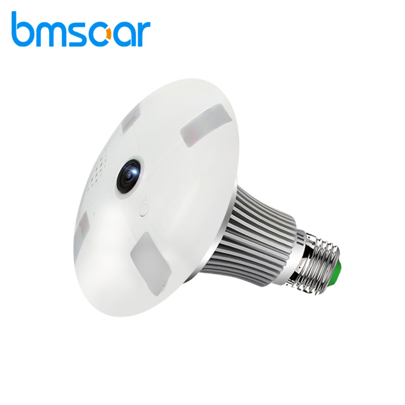 BMSOAR Bulb Light Wifi Camera 360 Degree Fisheye Lens 48pcs White Leds  960P HD IP Camera Lamp Wi-Fi Camera Home Security bc 883m mirror bulb lamp camera hd 960p wifi ap hd 960p ip network camera with real light remote control 2017 new arrival