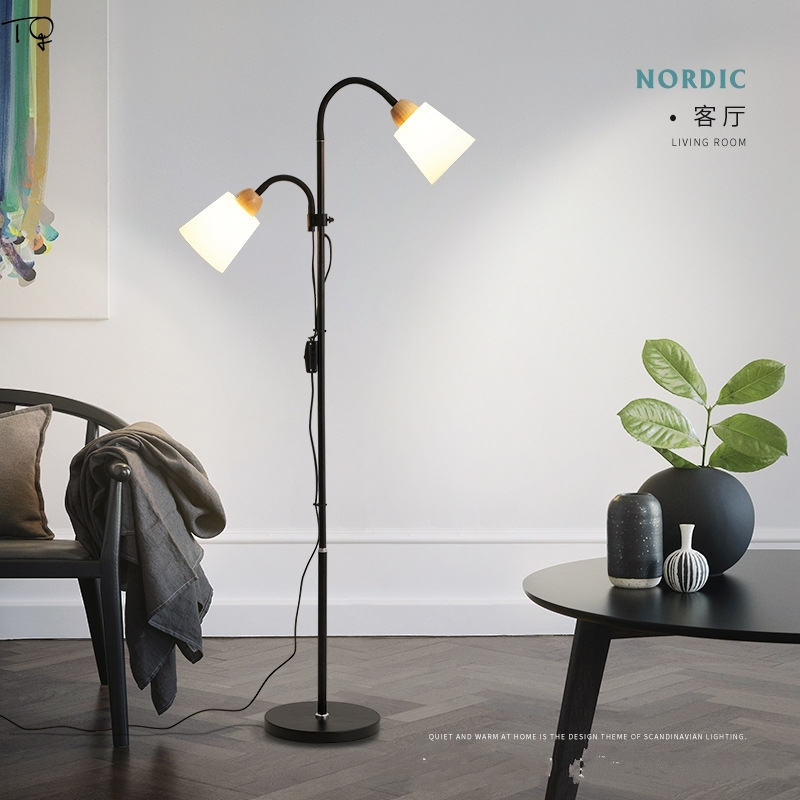 Solid Wood Floor Lamp E27 Led Simple Modern Living Room Bedroom Study Nordic Creative Japanese Double Head Vertical Table LampSolid Wood Floor Lamp E27 Led Simple Modern Living Room Bedroom Study Nordic Creative Japanese Double Head Vertical Table Lamp