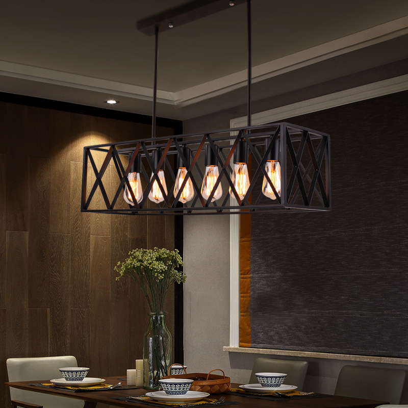 Bekend Youlaike Rechthoek Vintage Hanglamp Voor Eetkamer Zwarte RT24