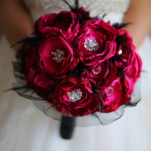 Ruby red Wedding Brooch Bouquet Handmade Fabrics Organza & Black ...