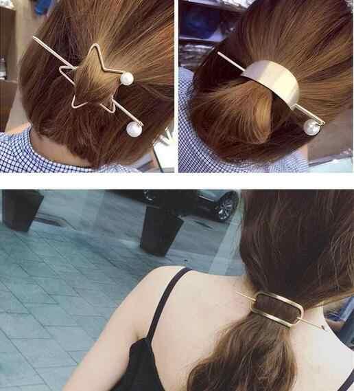 Frauen Haar Zubehör Herz Kreis Stern Haar Clip Pin Metall Legierung Haar Stick Haarband Hairgrip Haarspange Mädchen Haar Halter
