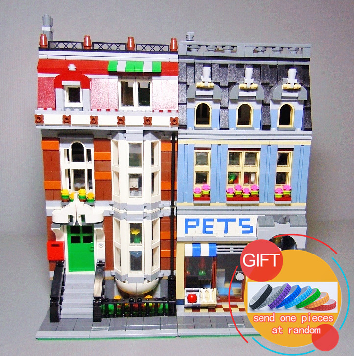 15009 2082PCS City Street Creator Pet Shop Model Building Set Kits Compatible with 10218 toys lepin stadtstrabe creator pet shop supermarkt modell lepin 15009 2082 stucke baustein kinder spielzeug kompatibel 10218 ziegel