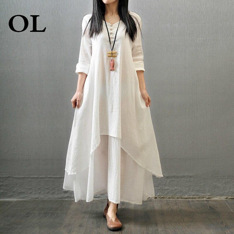 [OL] 2018 fashion loose big Linen cotton summer autumn plus size Ruffles round neck women woman dresses maxi vintage dress S877