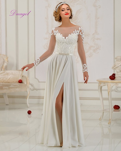 Dreagel 2017 New Arrival Sexy Front Split A-line Wedding Dress Crystal Beaded Sashes With Long Sleeves Appliques Robe de Mariage