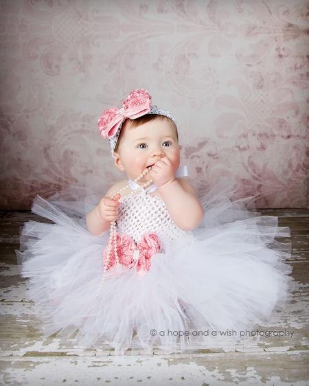 1edde1d9f632 Girl Baby Party Tutu Dress Flower Double Layers Fluffy Purple White ...