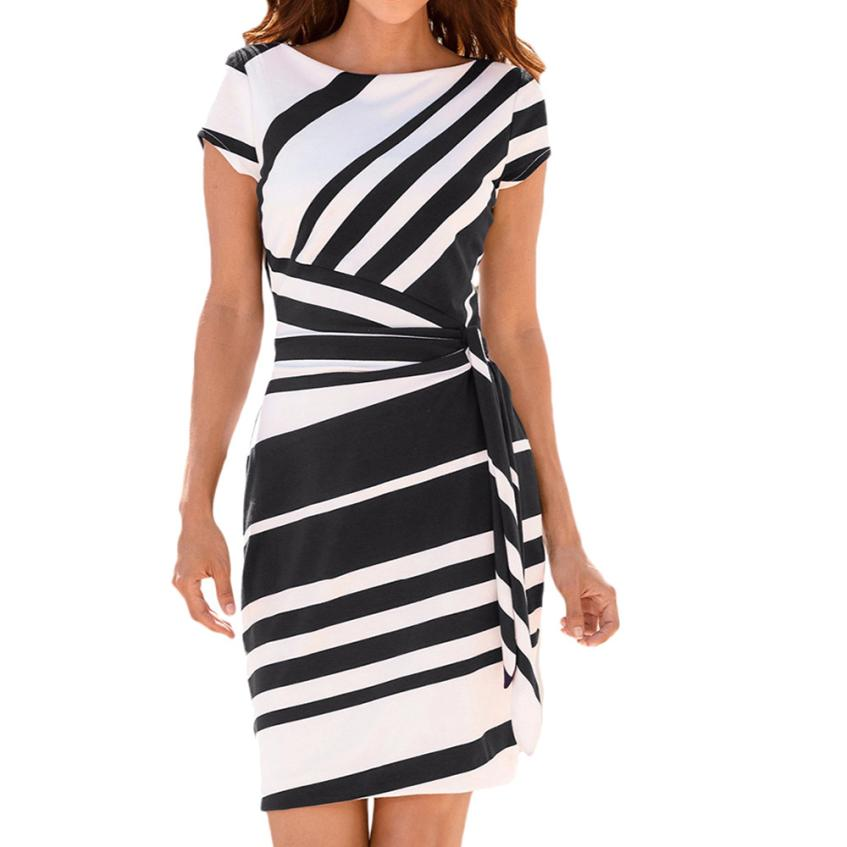 HTB134bBtL9TBuNjy0Fcq6zeiFXa9 KANCOOLD dress Summer fashion Women's Working Pencil Stripe Party Casual O-Neck Mini high quality dress women 2018MA27