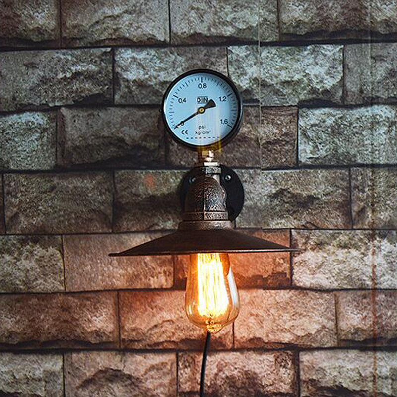 Vintage Iron Wall Lamp Retro Water Pipe Single Head Loft Industrial E27 Edison Wall Light Mounted Wall Sconce for Home Inn Hotel