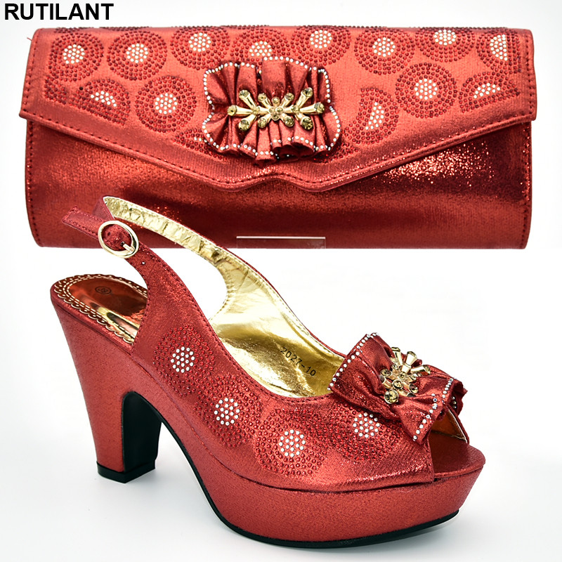Italian Ladies Shoes And Bags To Match Set Decorated With Appliques Ladies Sandals With Heels Nigerian Women Wedding Shoes Pumps