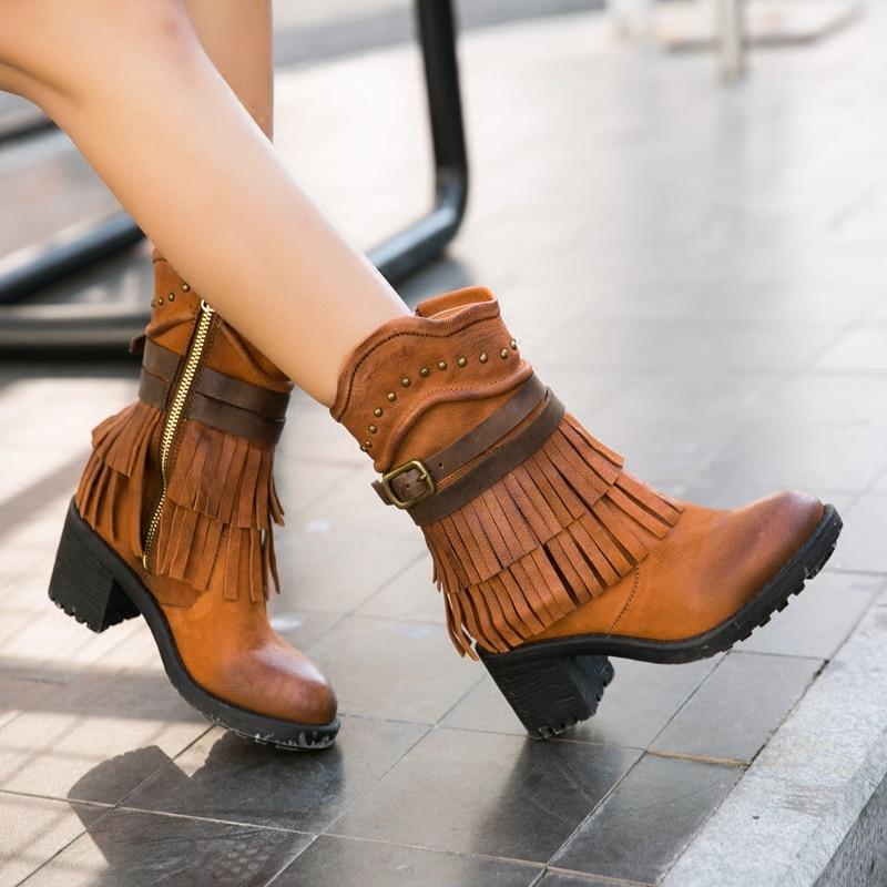 Lady Short Tassel Fringe Boots