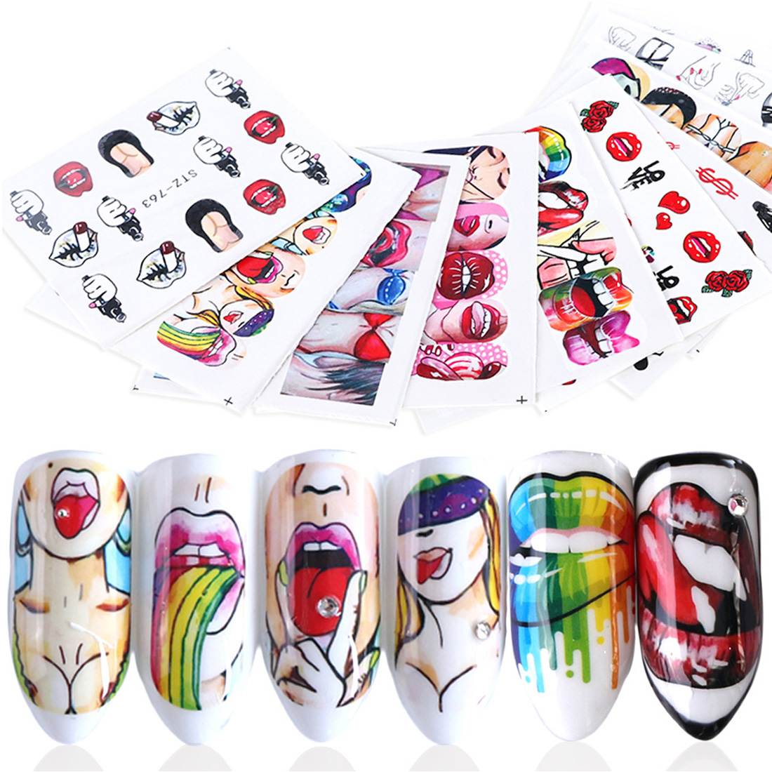 9pcs Sexy Girl Lips Slider Water Decals Nail Sticker Water Transfer Tattoo Wraps Adhesive Tip Manicure Decoration(China)