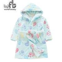 Perakende 2-10 yıl pamuk sabahlıklar flanel ev kıyafeti bornoz pijama sonbahar ile çocuk ev giyim hattı güz kış