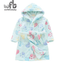 Retail 2-10 years cotton dressing gowns flannel home gown children's home clothes line with bathrobe pajamas autumn fall winter
