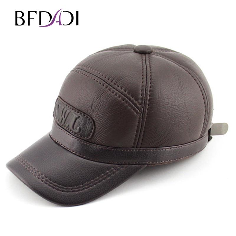 BFDADI 2017 New Arrival Hat Genuine Autumn-winter Leather Hat Baseball Cap Adjustable For Men Black Hats Free Shipping hopebird letter leather brand gorros knitted cap baggy beanie winter female pompon women hat skullies autumn bonnet femme cap