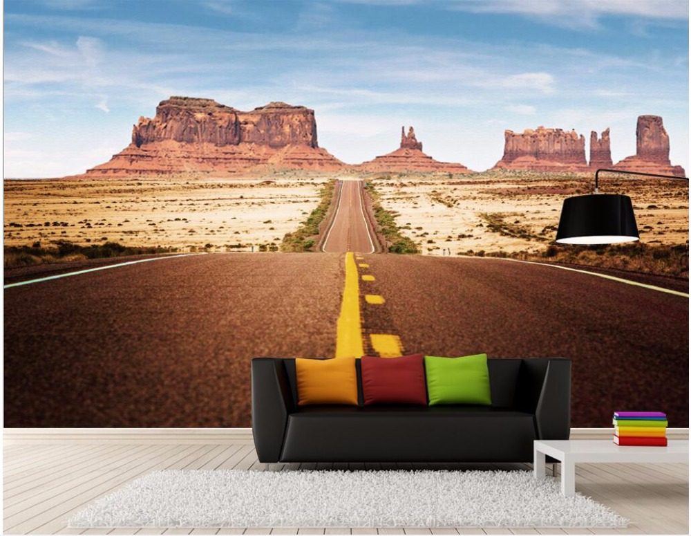 Custom photo 3d wallpaper Desert road rock canyon mural background living room Home decor 3d wall murals wallpaper for wall 3 d 3d wall murals wallpaper for living room walls 3 d photo wallpaper sun water falls home decor picture custom mural painting