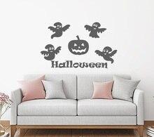 Linda linterna de calabaza Halloween vinilo pegatina de la pared de la habitación del bebé ventana del cuarto de niños decoración del arte de Halloween pegatina mural WSJ12