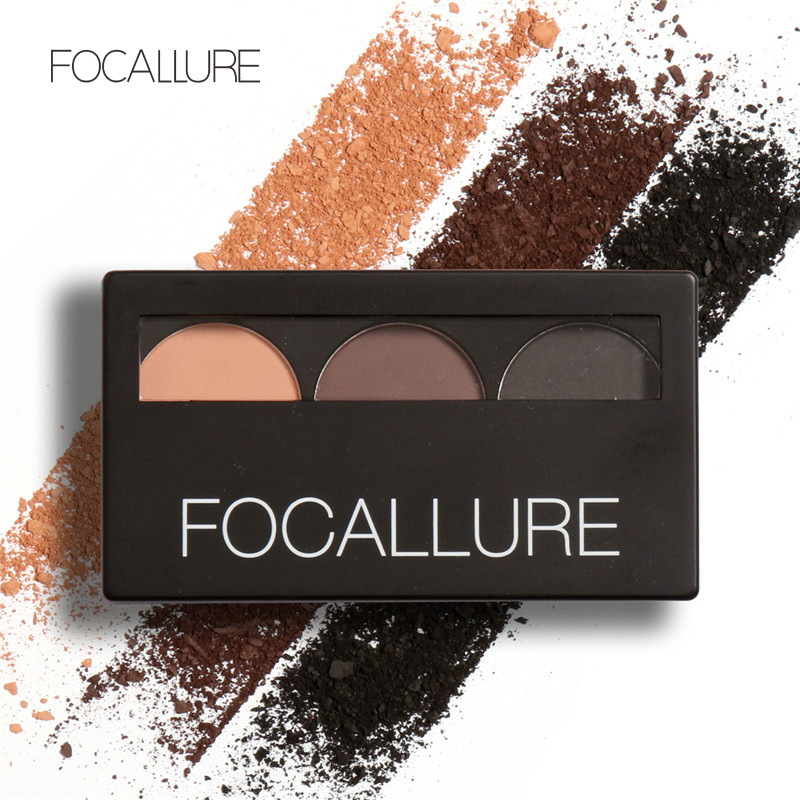 Focallure Eyebrow Powder 3 Colors Eye brow Palette Waterproof and Smudge Proof With Mirror Brushes Inside