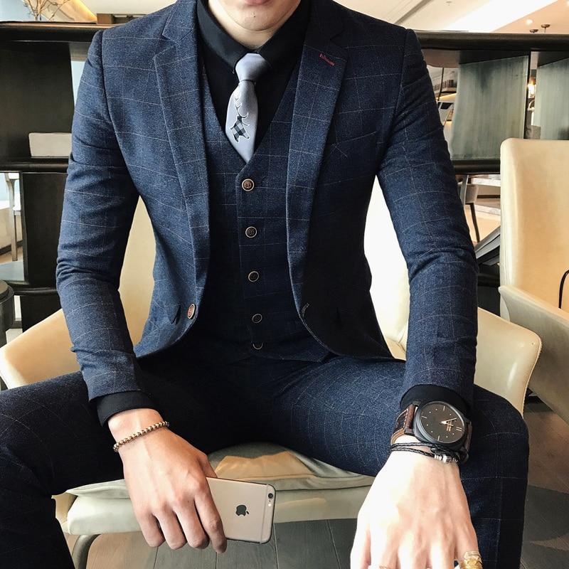( Jackets + Vest + Pants ) 2019 New High-end Boutique Plaid Men's Fashion Casual Business Suit / Groom Wedding Dress Men's Suits