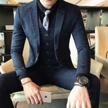 ( Jackets + Vest + Pants ) 2019 New High-end Boutique Plaid Men's Fashion Casual Business Suit / Groom Wedding Dress Men's Suits - DISCOUNT ITEM  40% OFF All Category