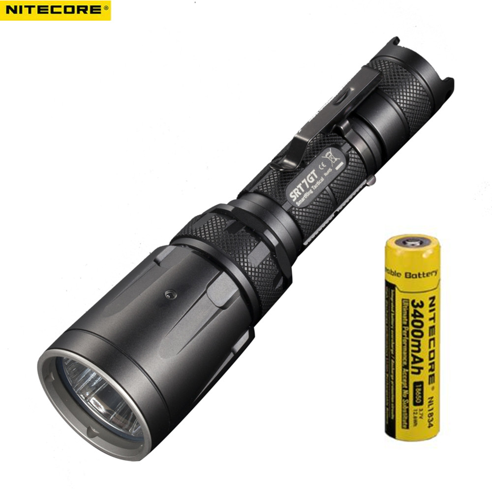 NITECORE SRT7GT XP-L HI V3 Red Green Blue UV Flashlight max 1000LM beam distance 450m tactical flashlight + 1pcs 3400mAh battery nitecore p12gt cree xp l hi v3 1000lm led flashlight 320 meter torch new i2 charger 18650 3400mah battery for search