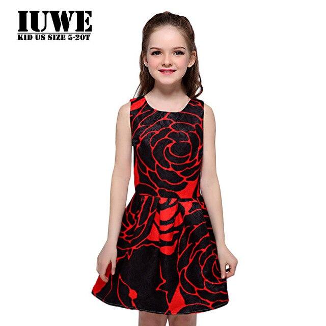 6b0e965373 Czarny i Czerwony Dziecko Letnie Dzieci Sukienki dla Dziewczynek Elegancki  Kwiatowy Print 12 14 Roku Życia