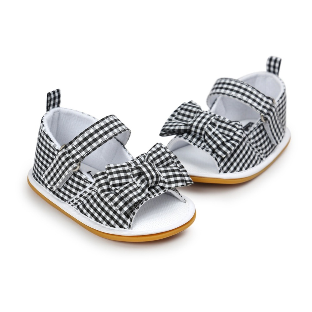 Newborn Baby Girls Bow Anti-slip Cotton Crib Shoes Infant Summer Prewalkers 0-18M New