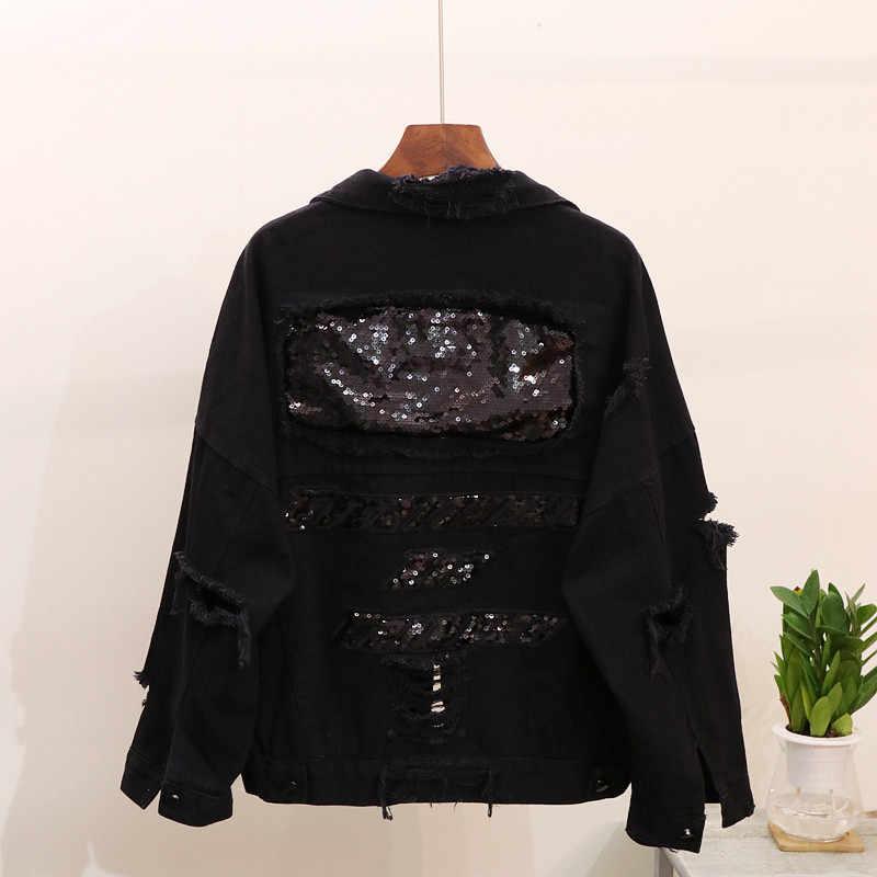 赤、黒デニムジャケット女性の基本的なコート 2019 秋ビッグサイズの穴ショートスパンコールジーンズジャケット原宿ファッションの女性のジーンズコート