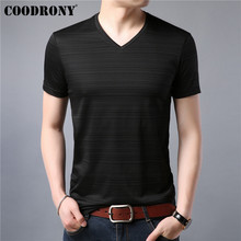 COODRONY Cotton T Shirt Men Short Sleeve T-Shirt Clothing Summer Casual Mens T-Shirts V-Neck Tee Homme Tshirt S95047