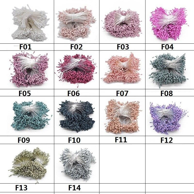 400x Multicolor Mini Perlen Blumenstrauß Doppel Köpfe Staubblatt Handmade