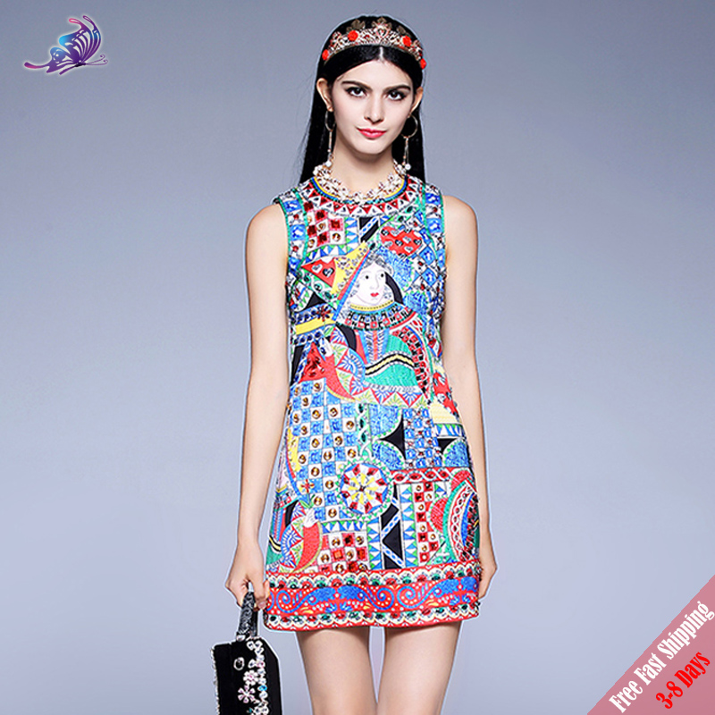 Fashion Runway Designer Summer Dress 2018 Womens Luxury Diamond Beading Playing cards Printed Straight Short Dress Free DHL