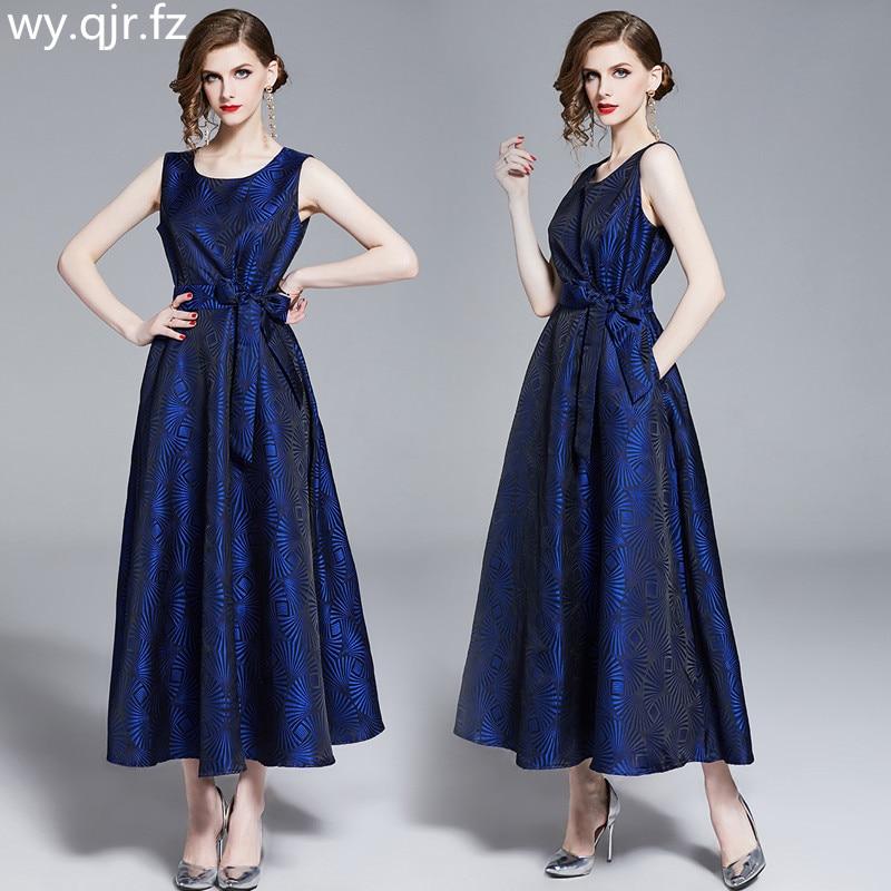 DRSZ6468#Blue Evening Dresses long Jacquard fabric Waist collection fashion Quinceanera Graduation party dress wholesale cheap