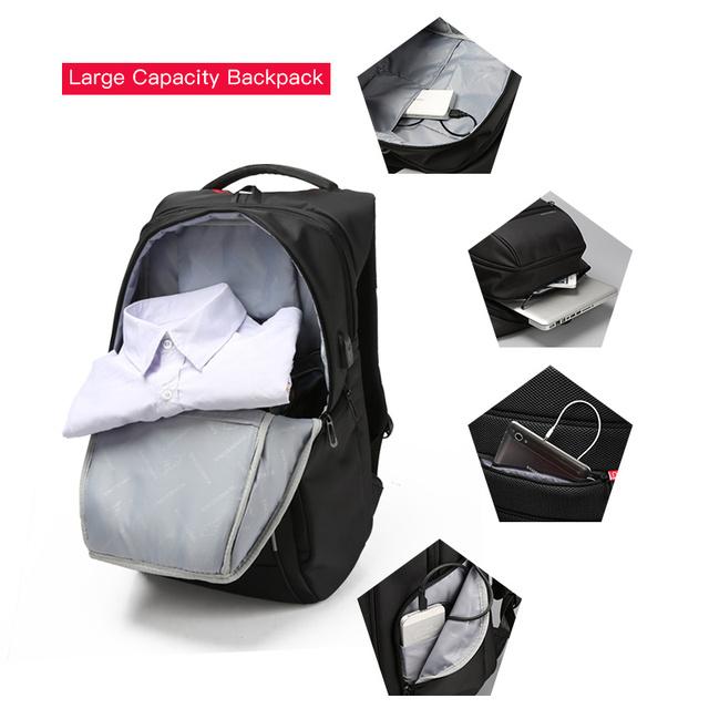 "Kingsons Men Backpacks 13"" 15"" 17"" Laptop Backpack USB Charger Bag Anti-theft Backpack for Teenager Fashion Male Travel"