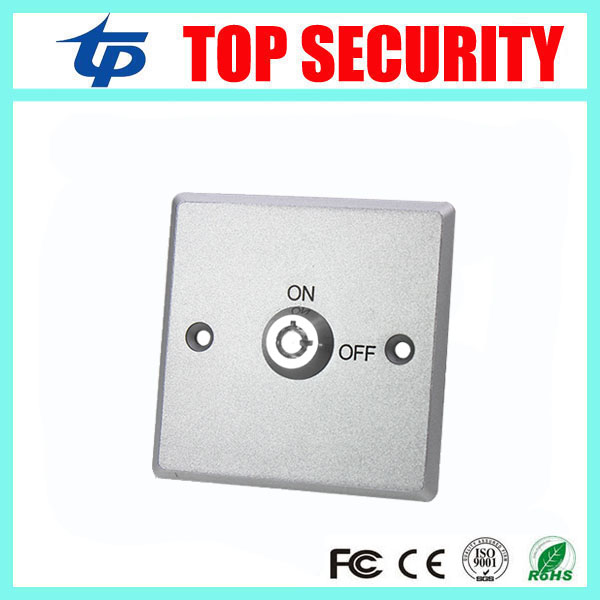 Zinc Alloy Key Emergency Exit Button Push Switch Release Button With Keys For Access Control System all Electronic Lock 12mm zinc alloy electronic key switch on off lock switch phone lock security power switch tubular terminals 2 keys 2 position