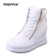 SWYIVY zapatos informales de PU para mujer, zapatillas de deporte femeninas con cuñas altas cálidas, con plataforma, color blanco, 2019