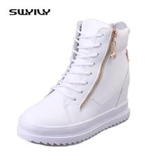 Swyivy puカジュアルシューズ女性スニーカー2019新ウォームハイトップウェッジシューズのプラットフォームスニーカー女性ホワイトレディース靴