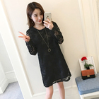 Maternity Women Lace Dresses Spring Autumn Long Sleeve Printting Pregnant Clothes Maternity Dress White Black