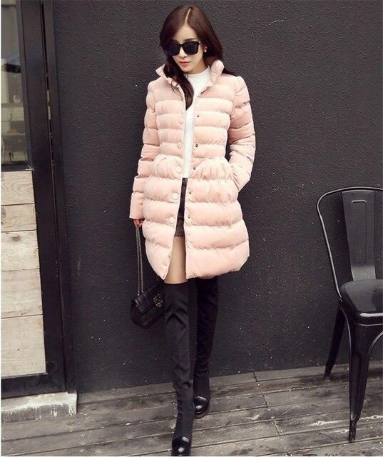 Wadded Coat Winter Women Velour Bow Cotton Padded Jacket Long Cloak Style Parka Female Winter Coats Women Winter Outwear TT253
