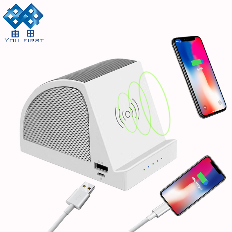 YOU FIRST Bluetooth Speaker Portable With Power Bank Stereo Music Speaker Wireless Charger Qi For Mobile Phone Xiaomi iPhone PC
