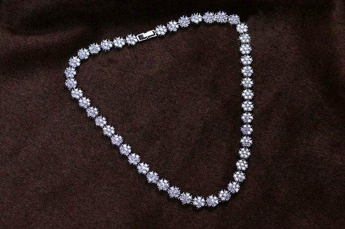 Высокое качество, белое золото, цвет AAA, высокое качество, кубический цирконий, свадебное ожерелье с подвеской для женщин, ювелирные изделия