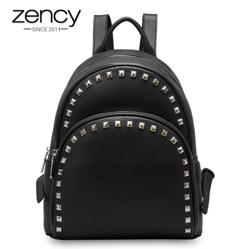2018 New Models 100% Real Leather Fashion Women Backpack With Rivets Casual Female Trave ...