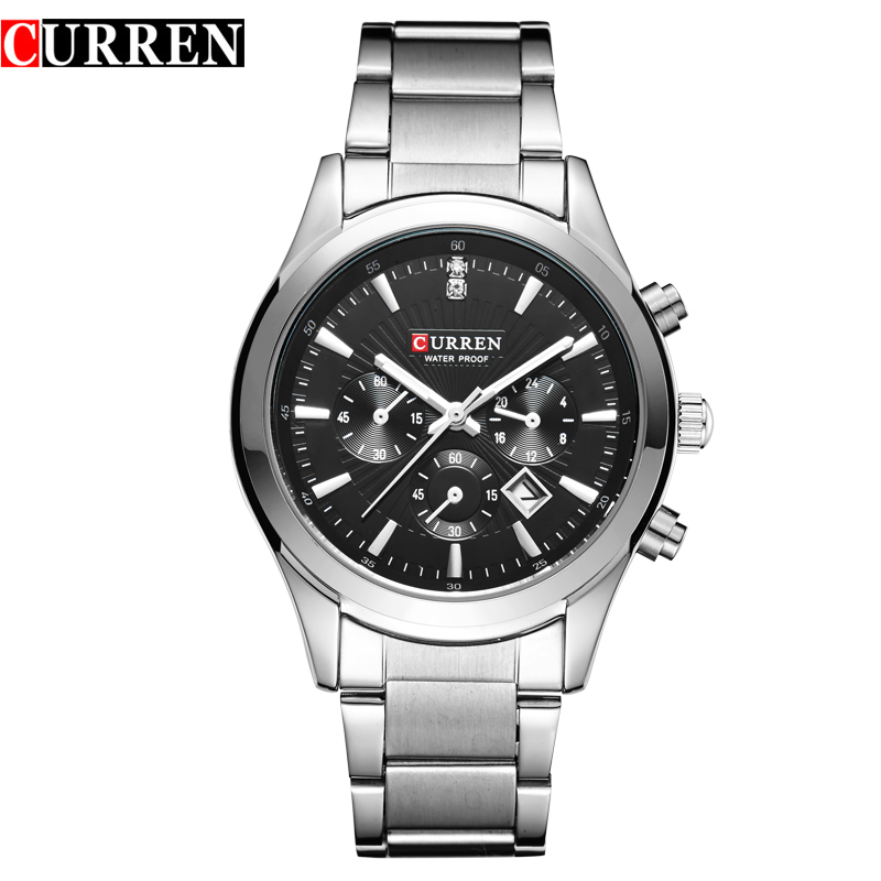 Curren Men's Watches Luxury Brand Stainless Steel Strap Calendar Analog Quartz Watch Casual Watch Men Watch 8085