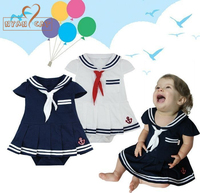 Nyan Cat Baby Girls Rompers Infants Toddler Sailor Navy Dress Style Jumpsuit Kids 2colors Blue White