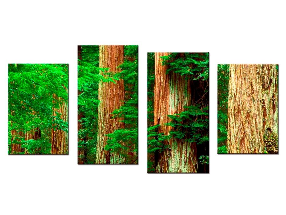 4 stykker / sæt grønt skovlandskab modulært billedtryk lærred - Indretning af hjemmet