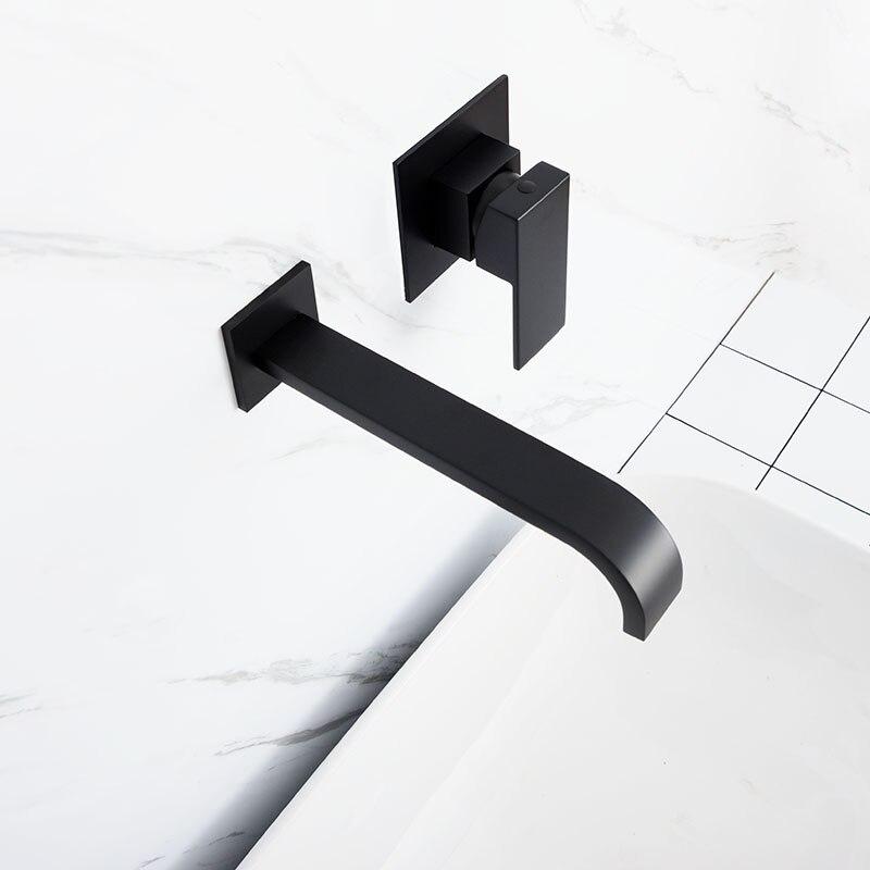 Mitigeur d'eau mural en laiton noir et Chrome mat pour salle de bain robinet mitigeur en laiton de qualité pour salle de bain robinet noir chaud et froid - 3