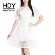 HDY Haoduoyi 2019 New Fashion Solid Hollow Out Short Sleeve Shirt O-Neck Button Down Casual Breathable Tops