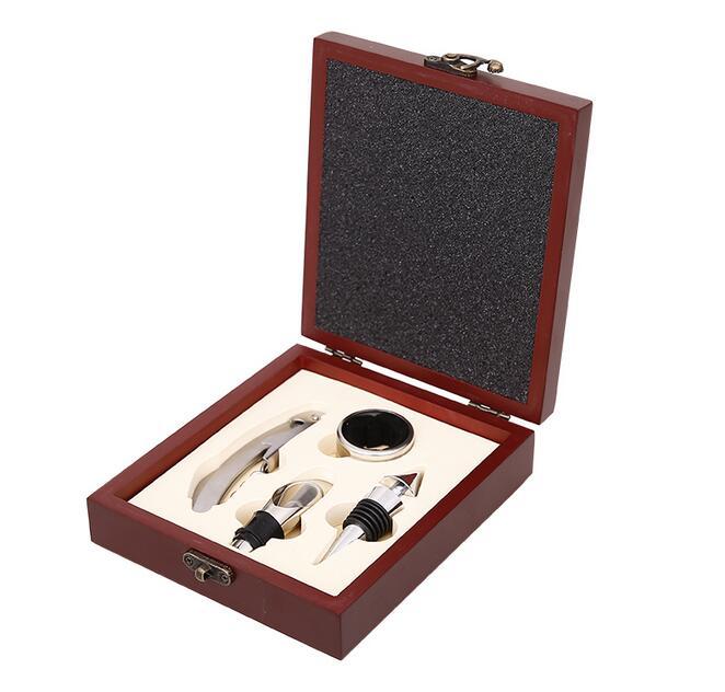 Stainless Steel Red Wine Beer Bottle Opener gift kit  corkscrews bottle opener with Dark Cherry Wood gift Case