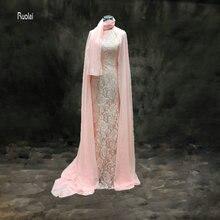 ФОТО    Pink Arabic Long Evening Gowns Chiffon Hijab Long Sleeve Lace Muslim Evening Dress With Jacket Custom
