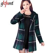 Женское клетчатое пальто, осенне-зимнее длинное женское пальто с отложным воротником, шерстяное теплое тонкое пальто, женская одежда