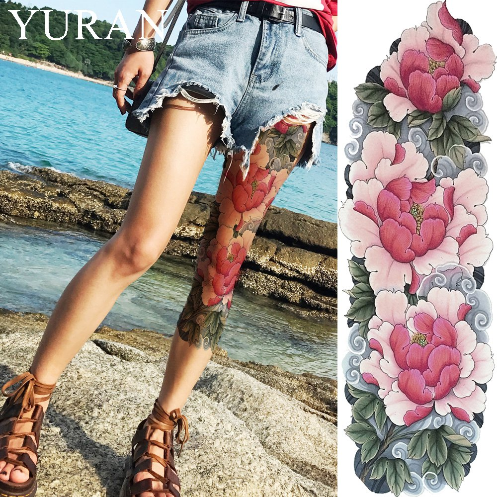 Watercolor Lotus Flower Temporary Tattoo Stickers Leaves Women Full Leg Fake Tatto Girl Party Body Art Drawing Flash Tattoo Long Temporary Tattoos Aliexpress